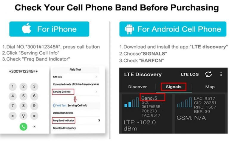 How To Check What Frequency Band Is Used On Cell Phone ( iPhone & Android phone)?